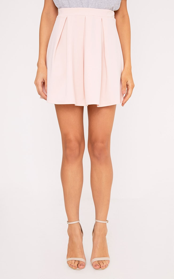 Rosabela Blush Box Pleat Skater Mini Skirt  2