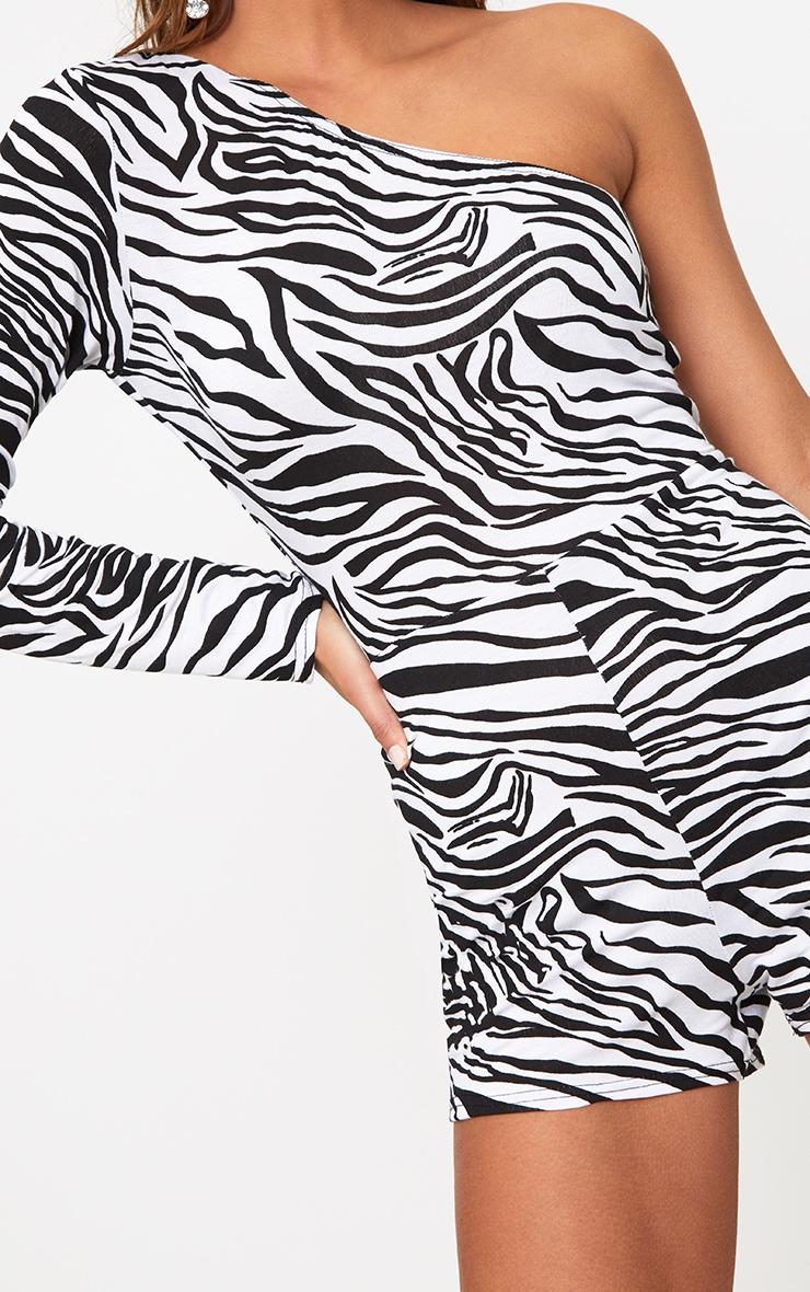 Zebra Print One Shoulder Playsuit 4