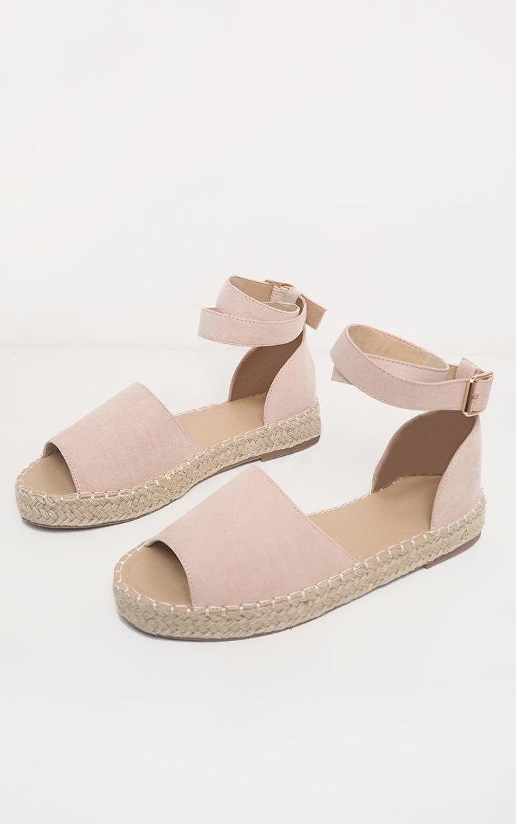 Nude Peep Toe Espadrille Flat Sandal 3