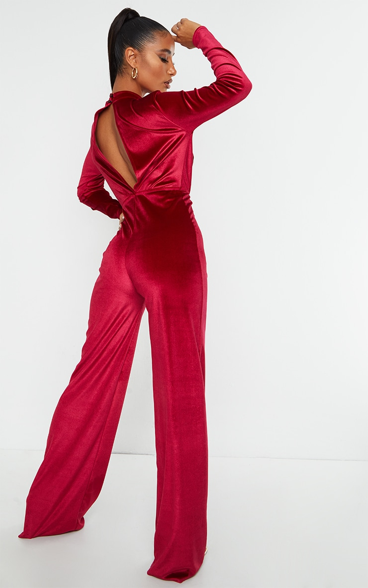 Burgundy Velvet Shoulder Pad Keyhole Detail Jumpsuit 2
