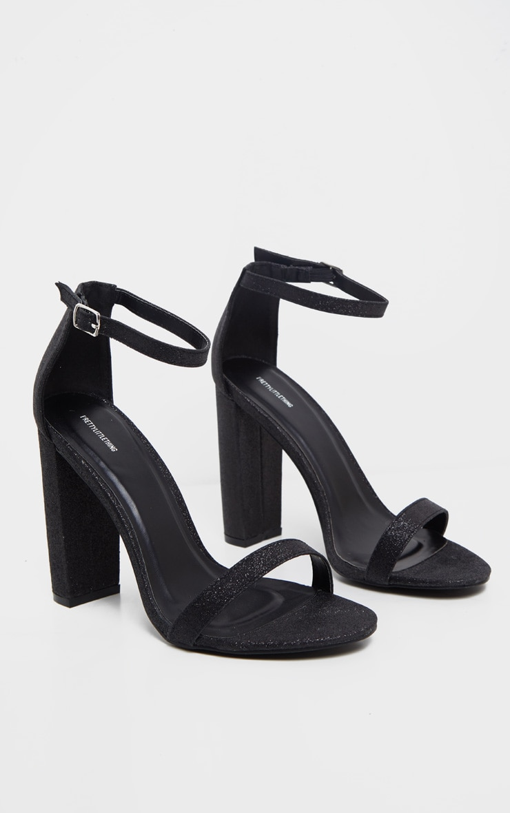 Black Glitter May Heeled Sandals 3