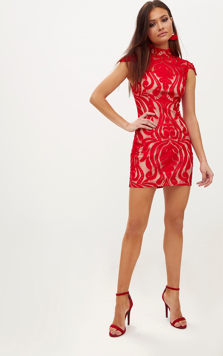 Red Lace Cap Sleeve Bodycon Dress 4