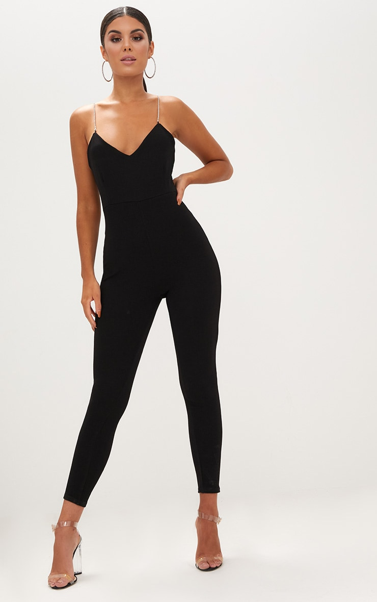Black Diamante Strap Jumpsuit 1