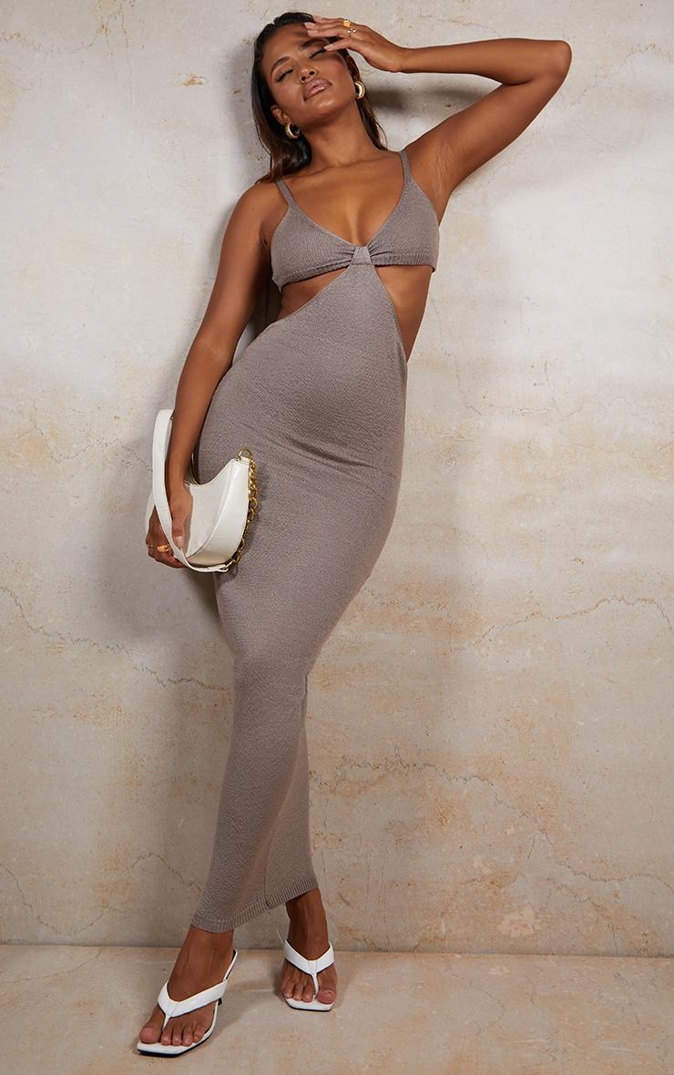 Mocha Sheer Knit Cut Out Maxi Dress 1