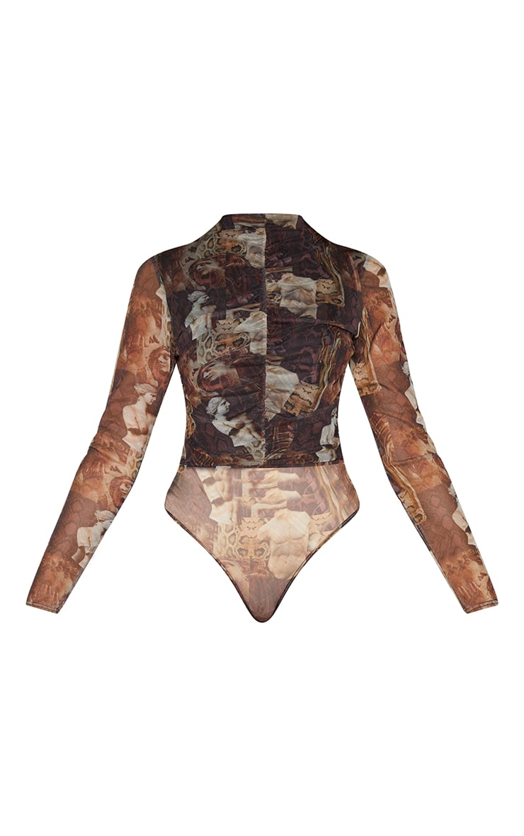 Brown Animal Renaissance Printed Mesh Ruched Front Long Sleeve Bodysuit 5