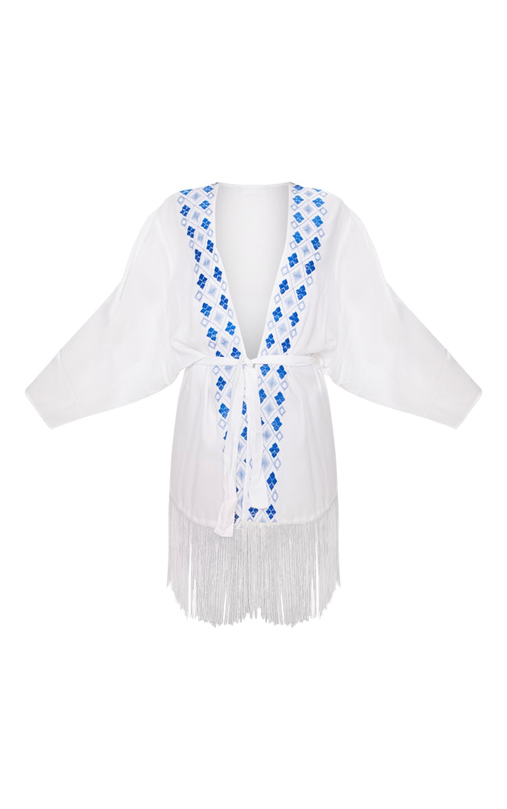 White Embroidered Wide Sleeve Tassel Trim Belted Kimono 3
