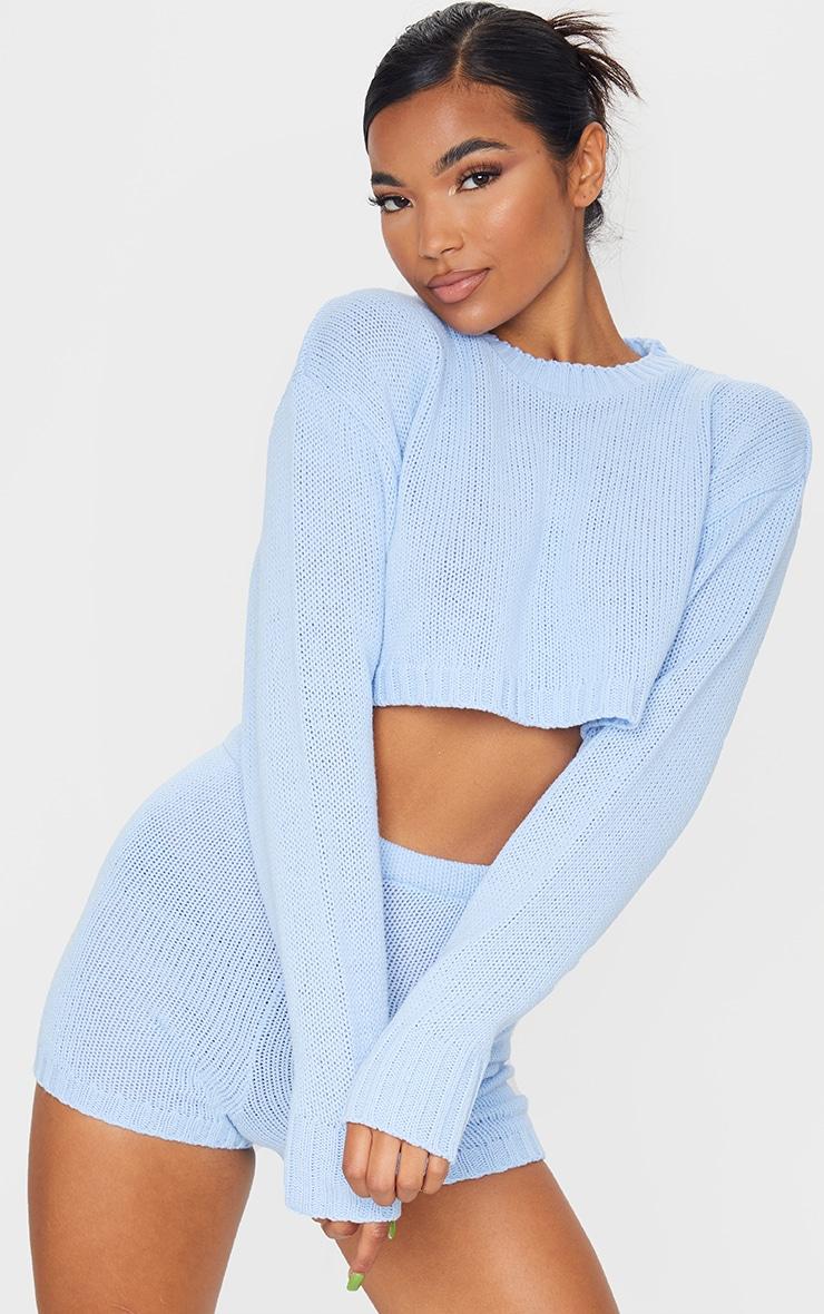 Baby Blue Deep Hem Knitted Jumper And Short Set 1