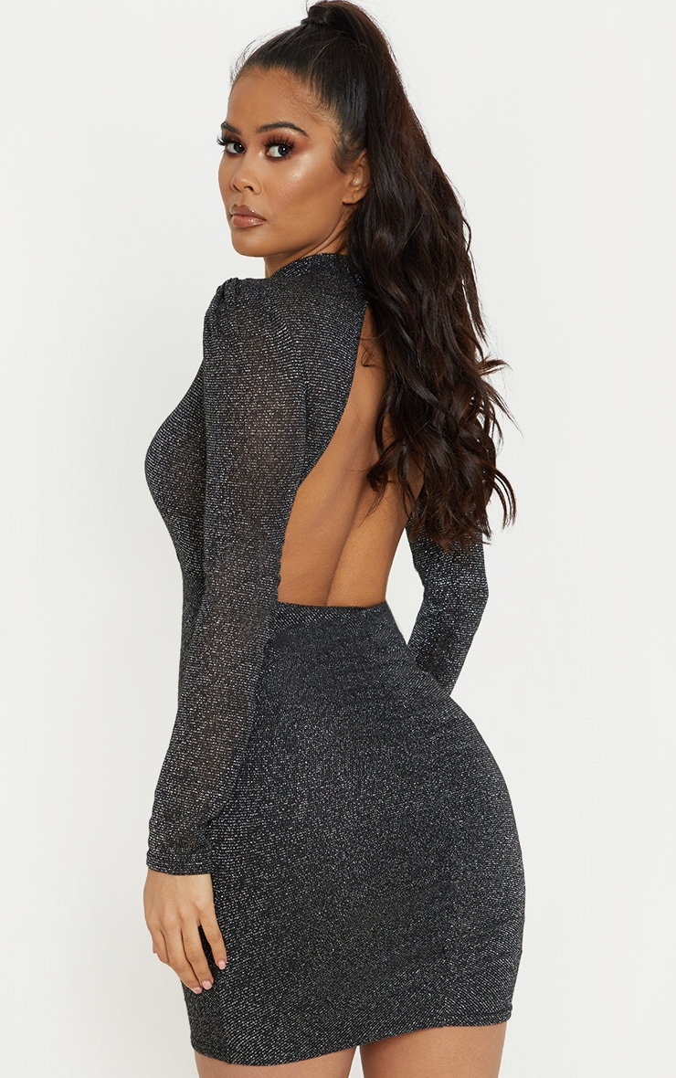 Black Sheer Glitter Open Back Ruched Bodycon Dress 1