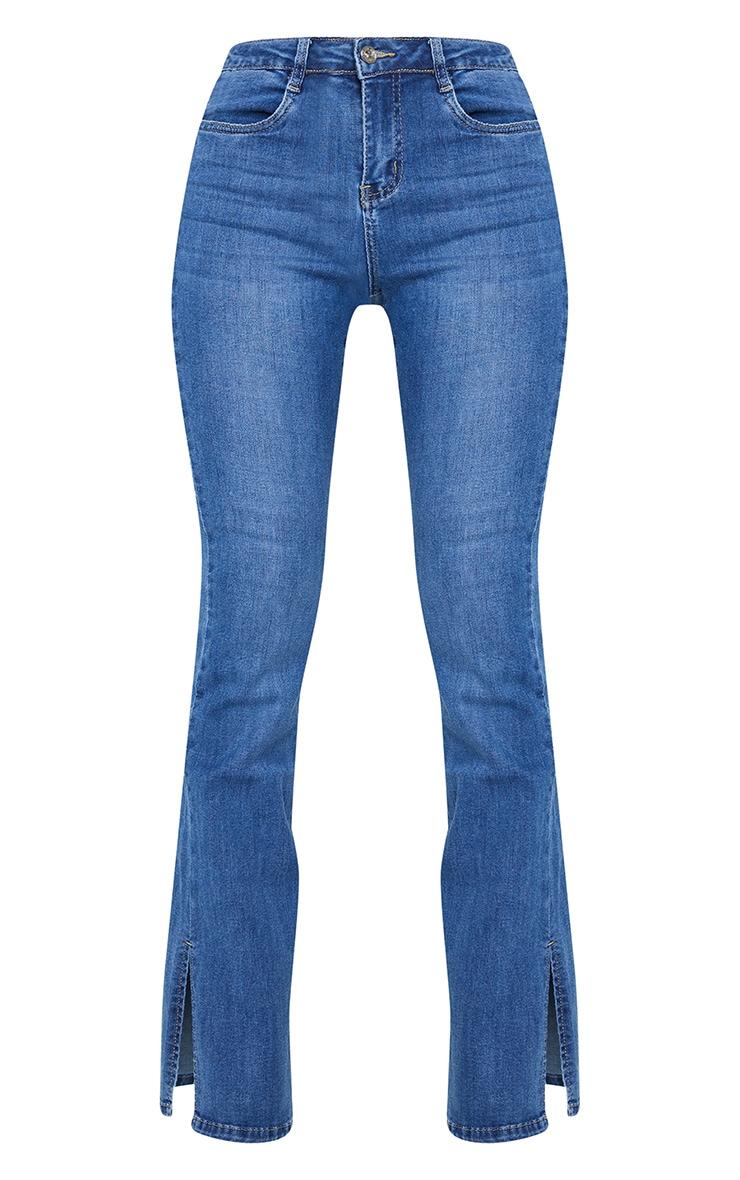 Dark Wash Split Hem Flare Jeans 5