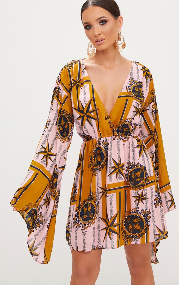 Pink Chiffon Star Print Flared Sleeve Swing Dress  1