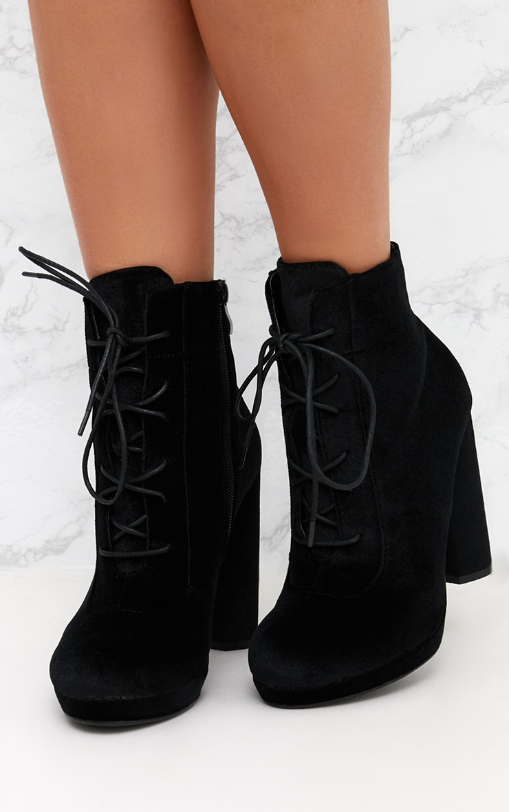 Black Velvet Lace Up Heeled Ankle Boot 2