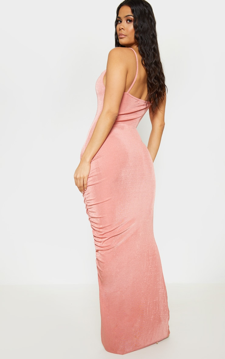 Blush Textured Slinky Ruched Maxi Dress 2