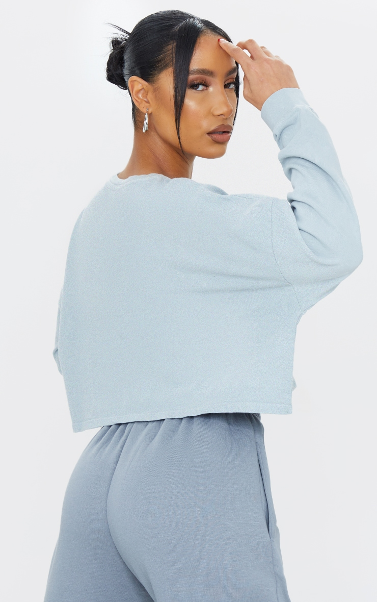 PRETTYLITTLETHING Grey Label Washed Long Sleeve Crop T Shirt 2