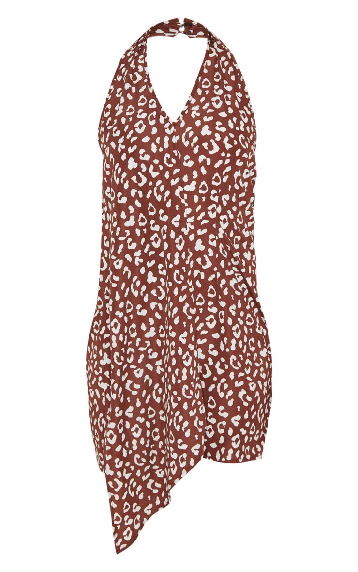 Brown Leopard Print Halterneck Swing Dress 3