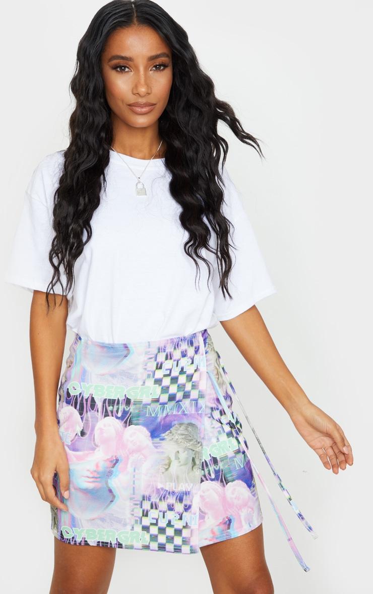 Lilac Cyber Statue Print Wrap A Line Skirt 4