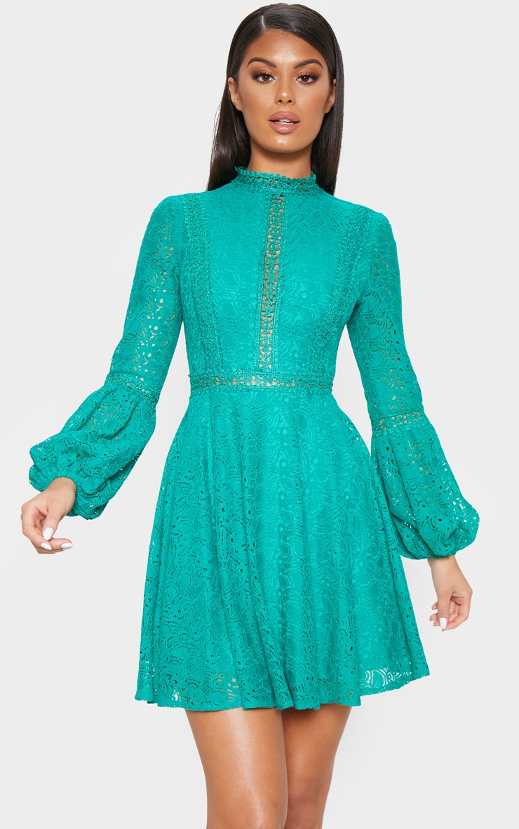Green Lace Long Sleeve Skater Dress 1