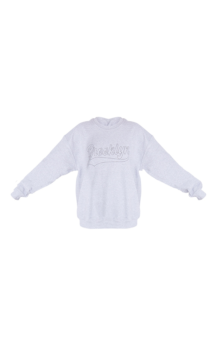 Grey Brooklyn Slogan Sweatshirt 5