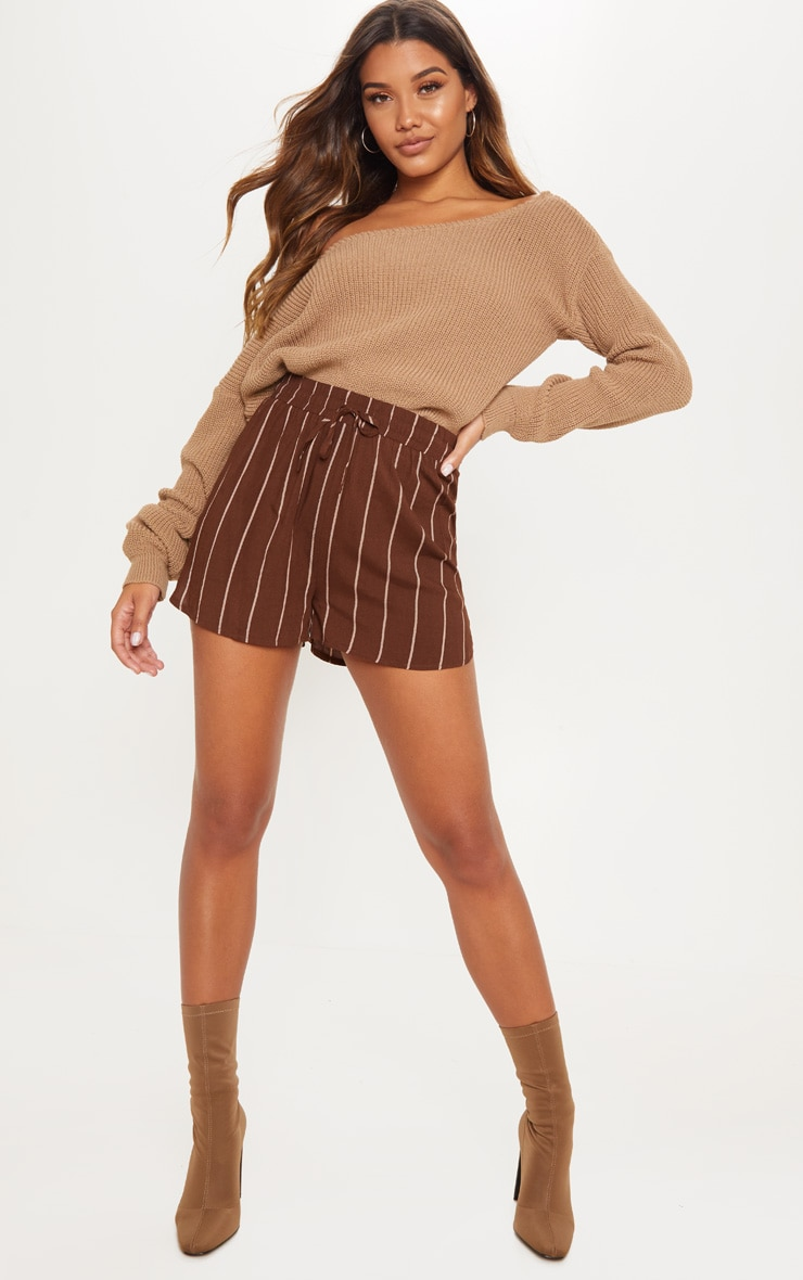 Chocolate Stripe Drawstring Waist Casual Short 4