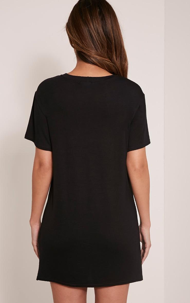 Petite Moth Skull Print Black T Shirt Dress 3