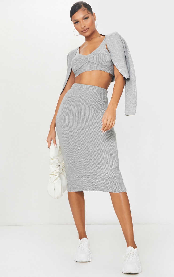 Grey Bust Detail Ribbed Knitted Cropped Top 3