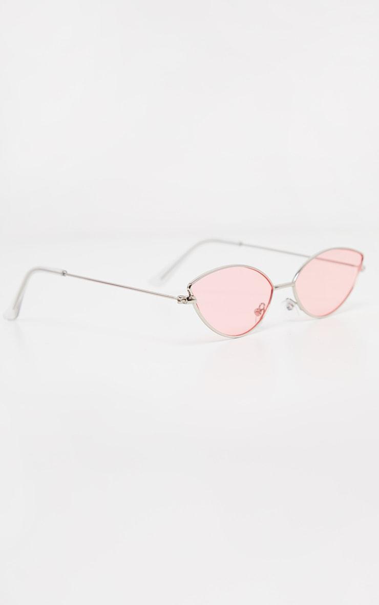 Pink Metal Almond Cat Eye Sunglasses 3