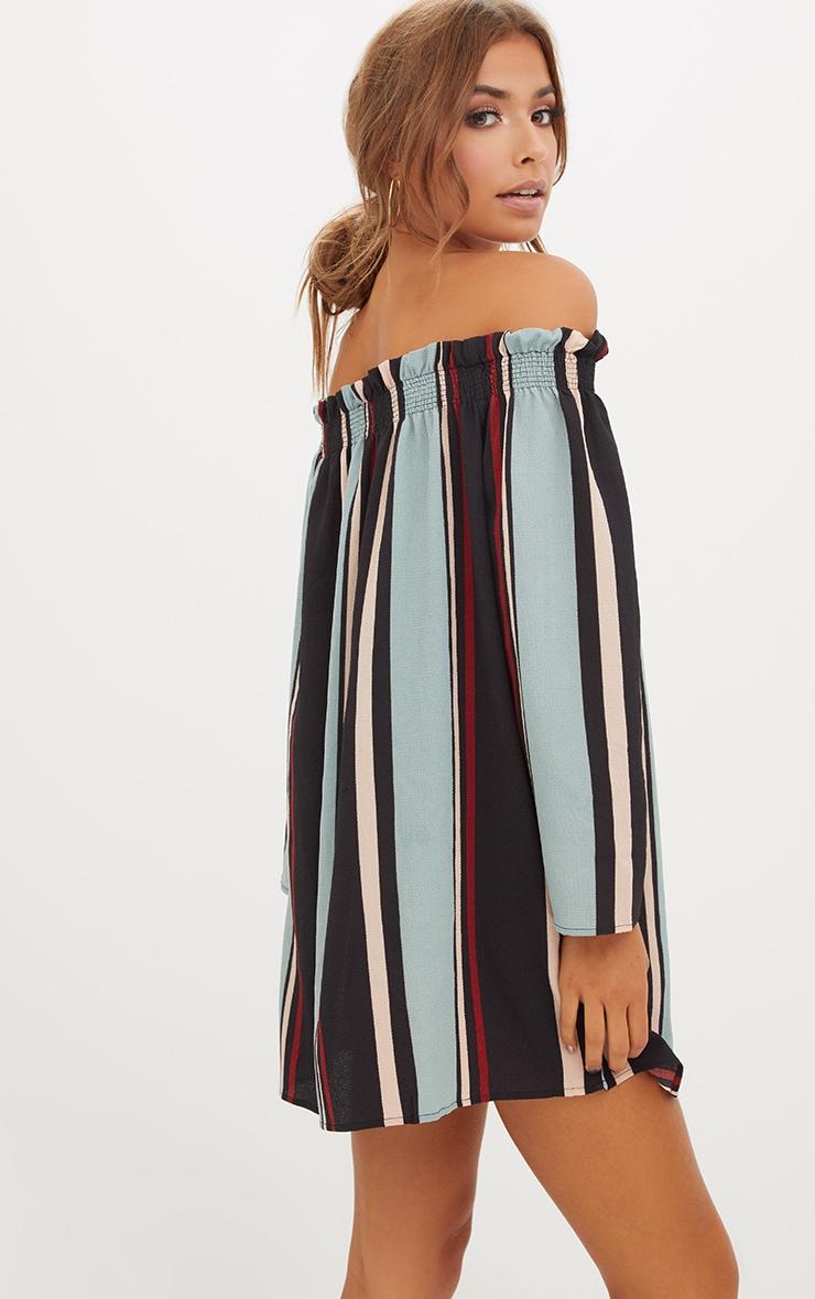 Stripe Long Sleeve Bardot Shift Dress 2