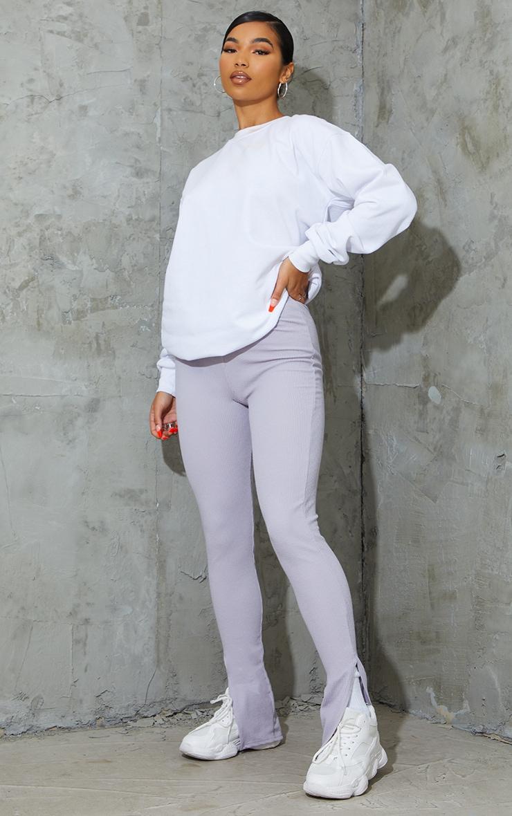 Grey Marl Textured Ribbed Split Hem Leggings 1