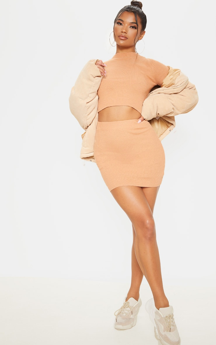 Camel Rib Knitted Crop Top And Mini Skirt Set 4
