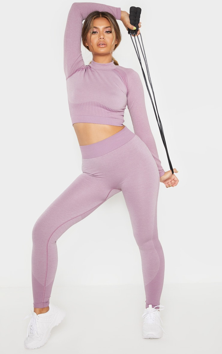 Lilac Seamless Stripe Detail Legging 1