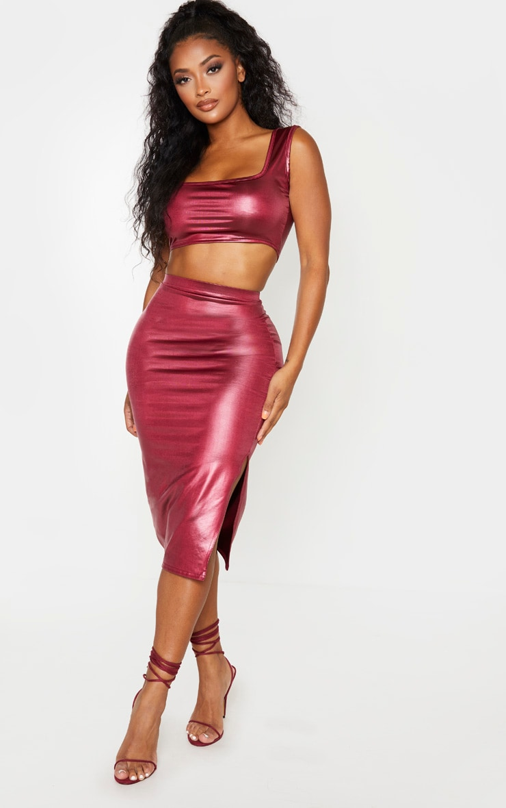 Shape Burgundy Metallic Slinky Slit Front Midi Skirt 1