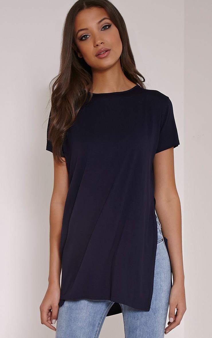 Basic t-shirt bleu marine fendu sur le côté 1