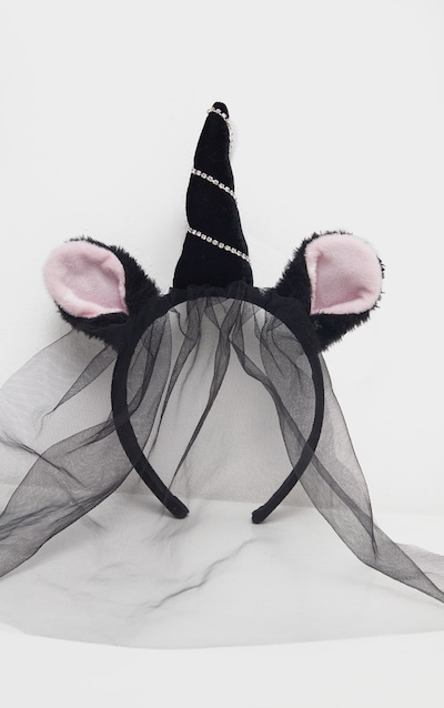 Black Faux Fur Diamante Net Vail Unicorn Headband