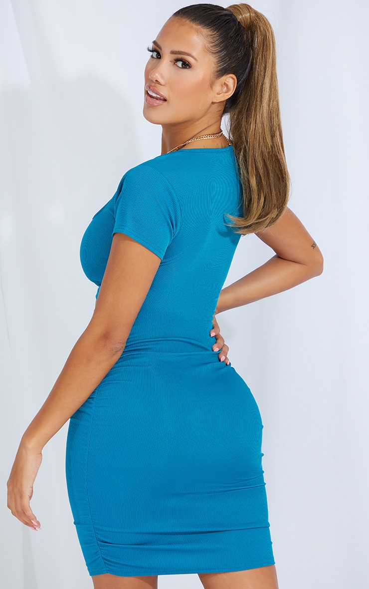 Shape Teal Rib Square Neck Crop Top 2