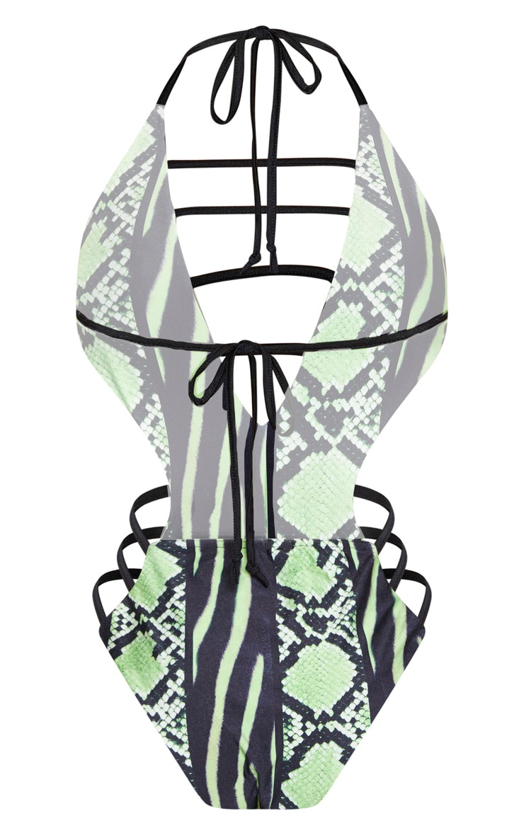 Lime Snake Print Strap Detail Plunge Swimsuit 5