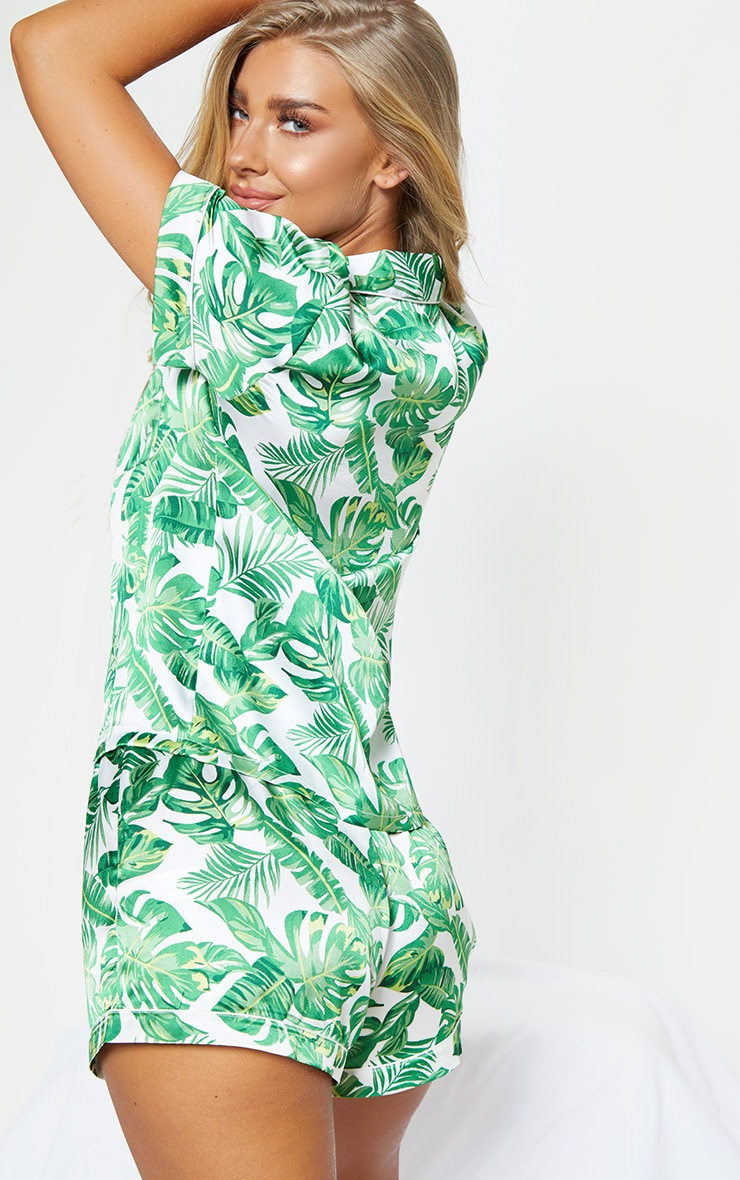 Green Palm Print Short Satin PJ Set 2