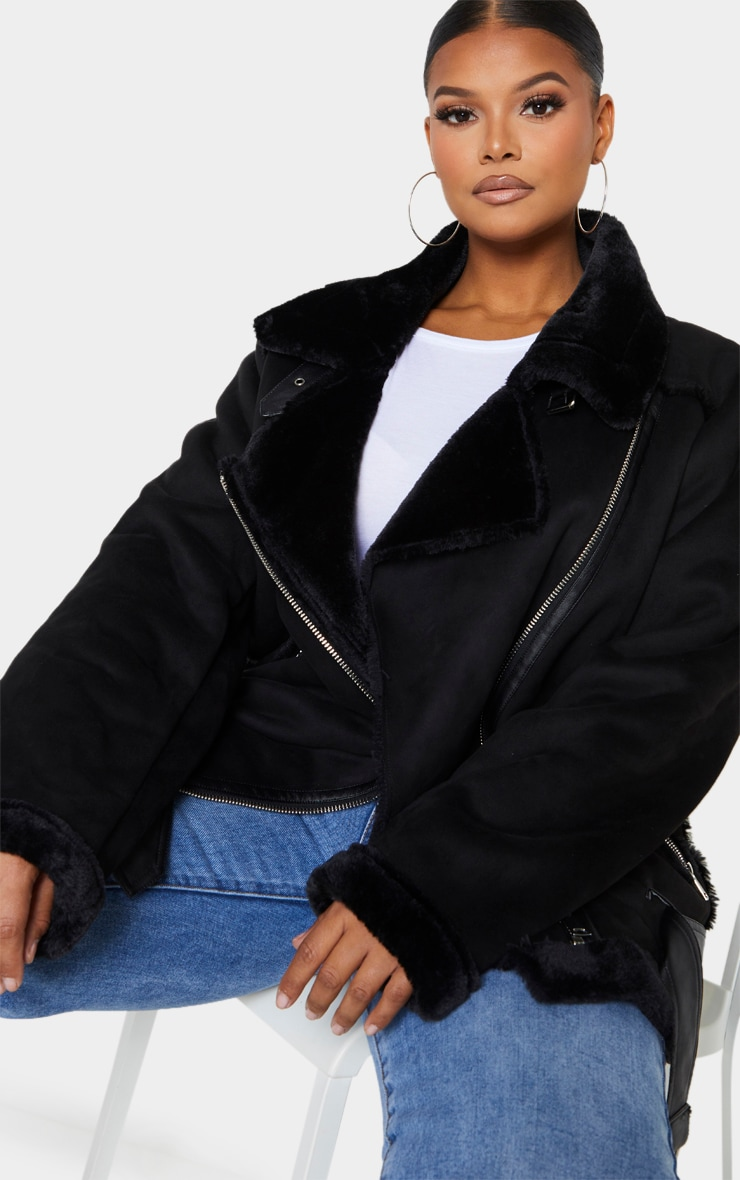 Plus Black Faux Suede Aviator Jacket 4