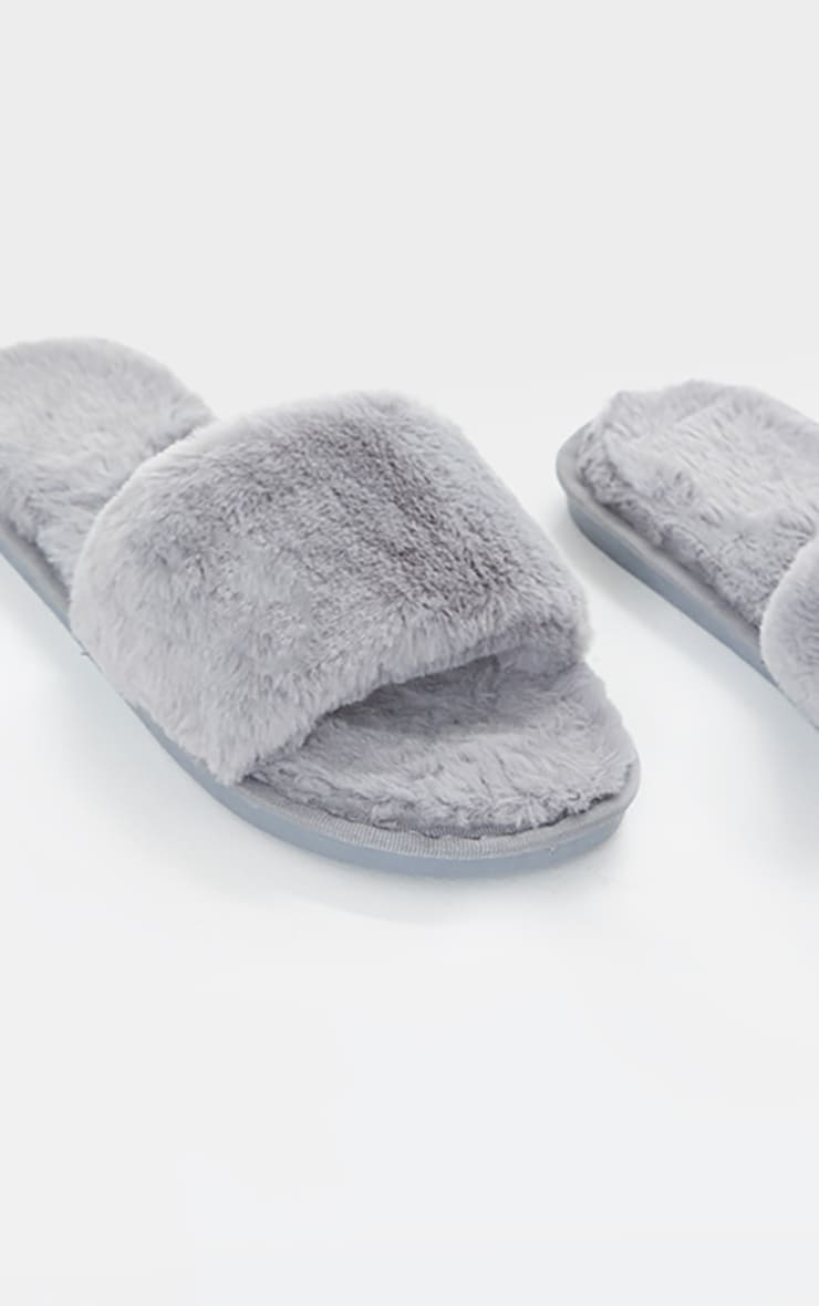 Light Grey Fluffy Slider Slippers 4