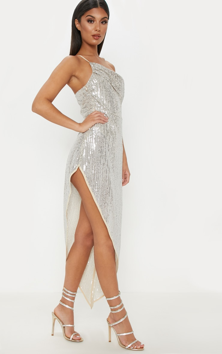 Silver Sequin Off The Shoulder Midi Dress  4