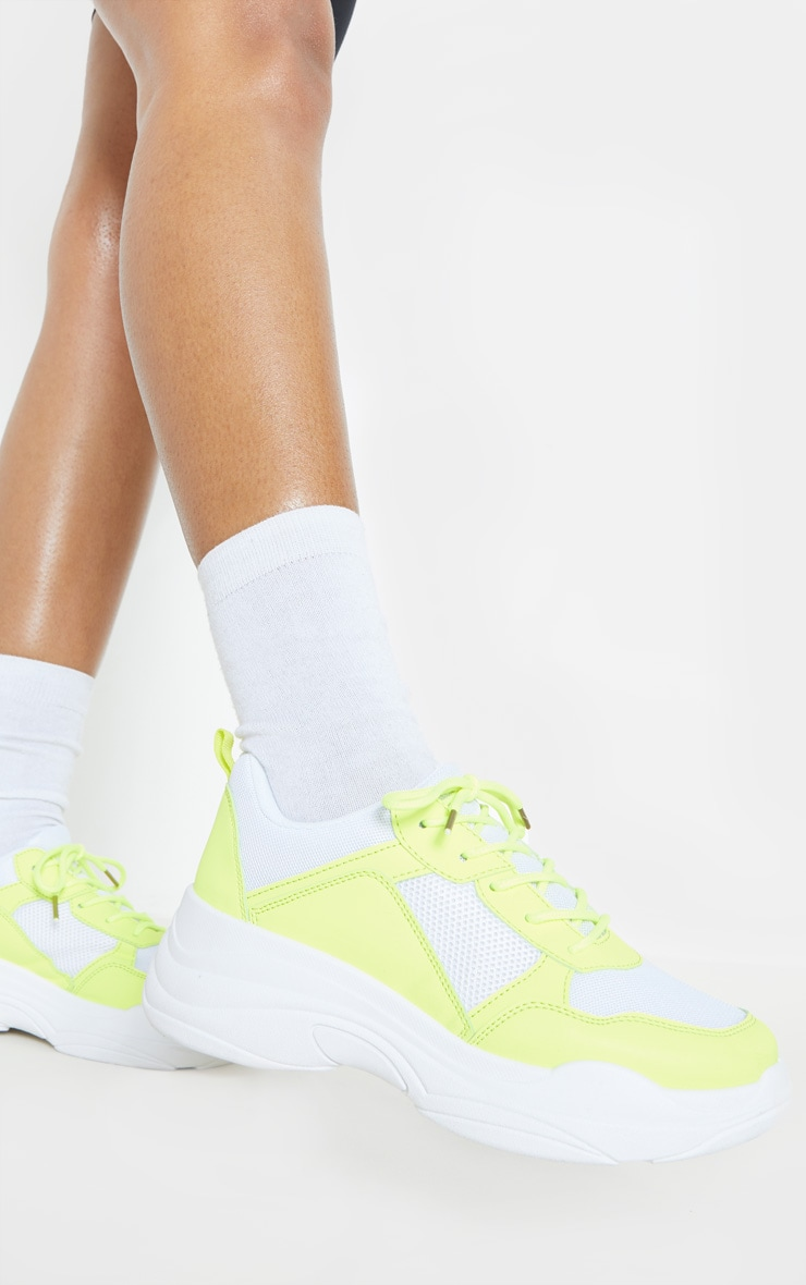 Yellow Chunky Sole Lace Up Trainer 2