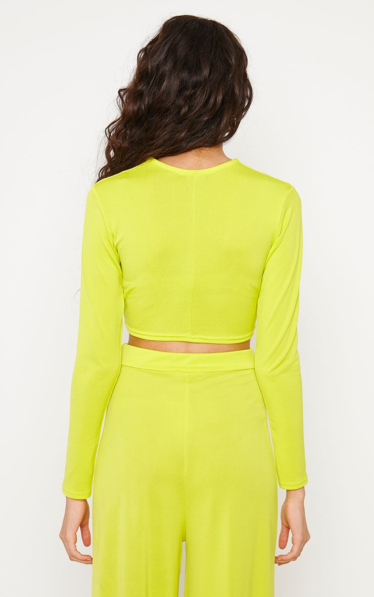 Zafia Lime Slinky Knot Front Crop Top 2