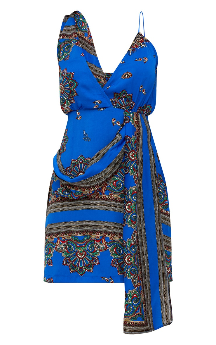 Cobalt Satin Scarf Print Drape Detail Bodycon Dress  3
