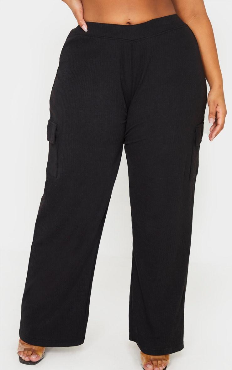 Plus Black Rib Pocket Detail Wide Leg Pants 3