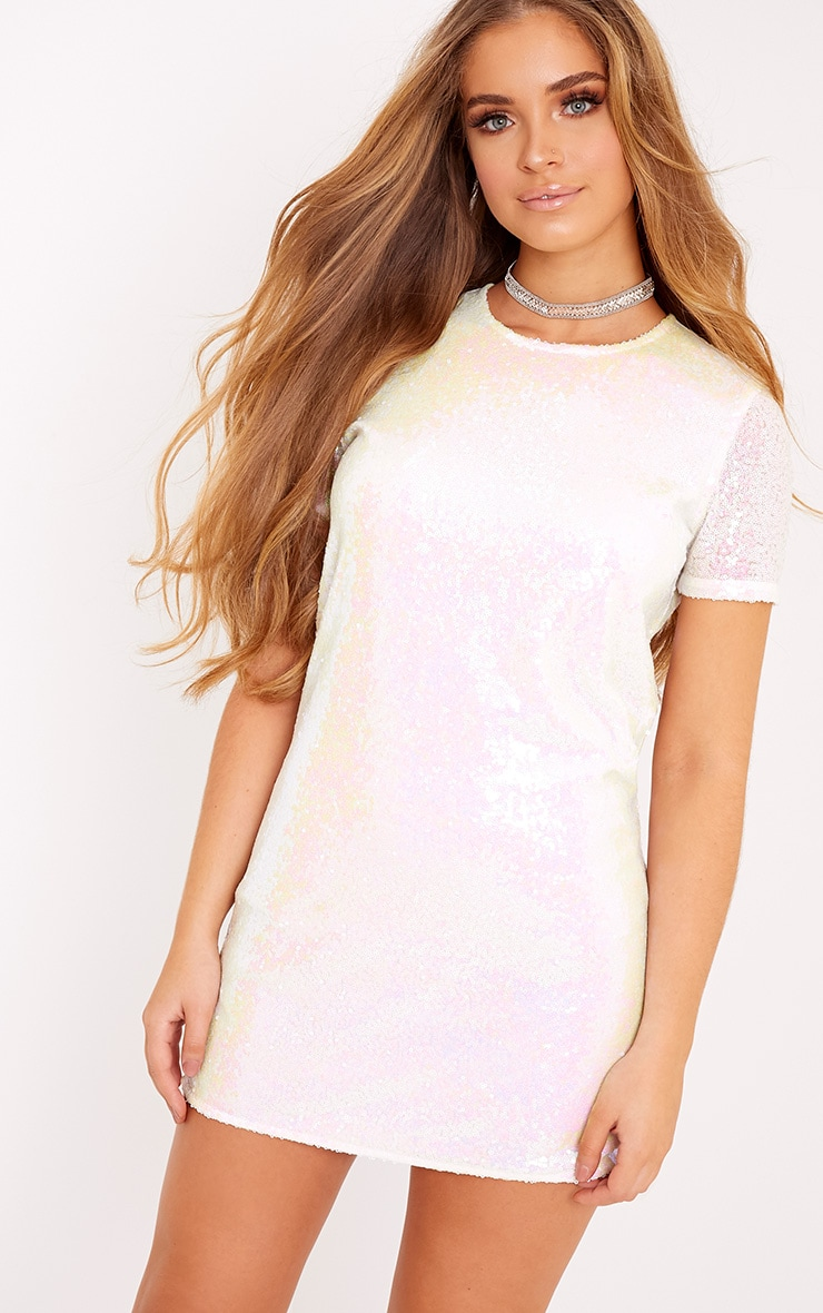 Tanaya White Short Sleeve Sequin T-Shirt Dress 1