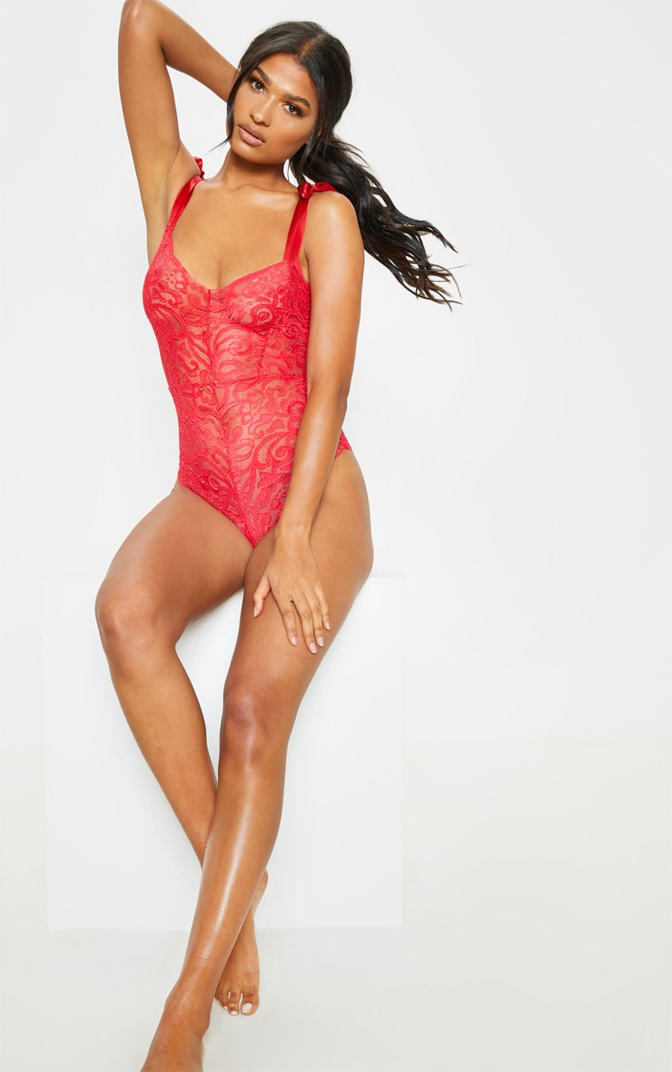 Red Tie Strap Lace Body 5