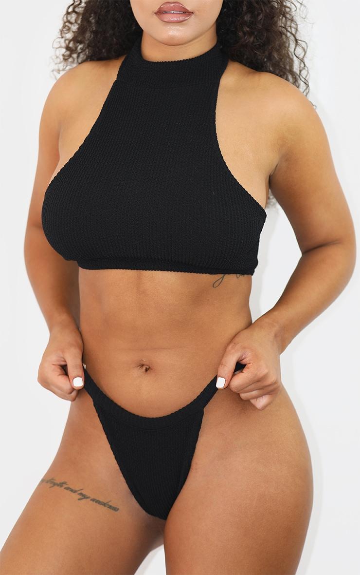 Black Crinkle Cheeky Tanga Bikini Bottom 1