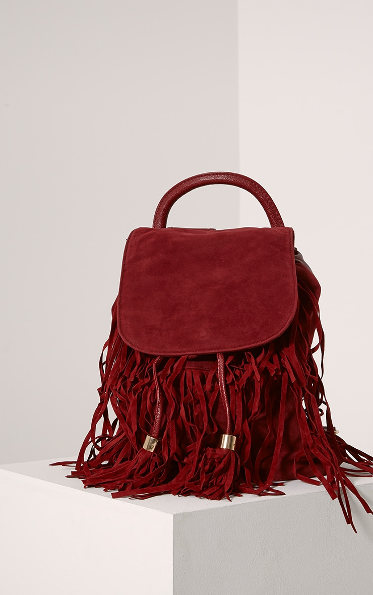 Narina Wine Suede Tassel Backpack 1