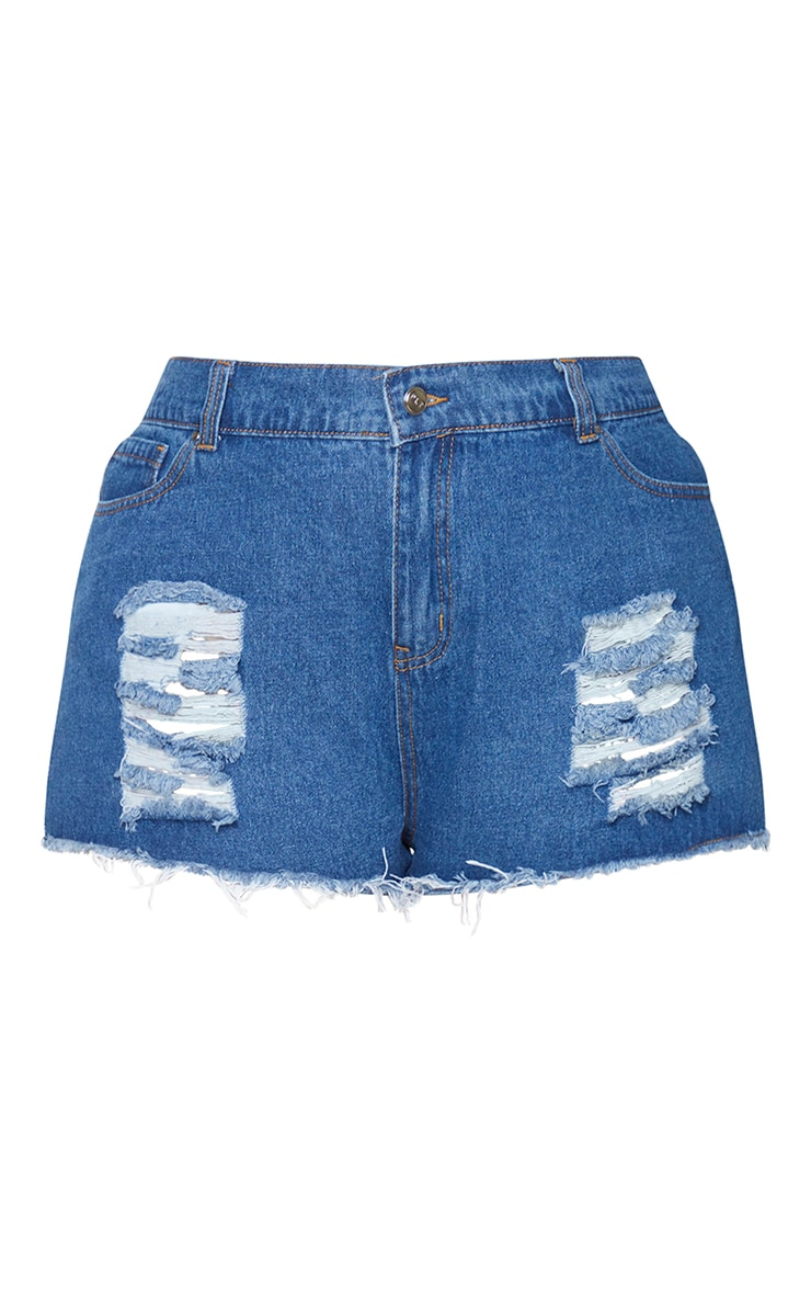Plus Mid Wash Ripped Denim Hot Pants 6