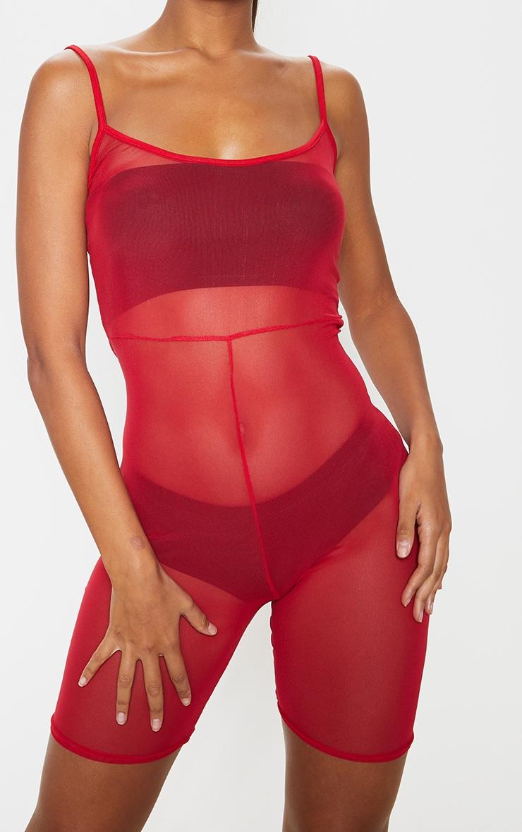 Combi moulante rouge en mesh à bretelles 4