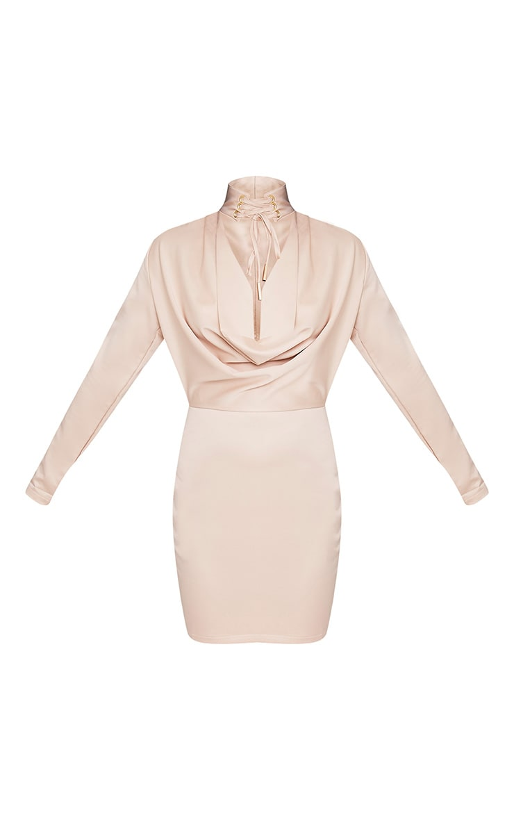 Chrissie Champagne Lace Up Satin Bodycon Dress 3