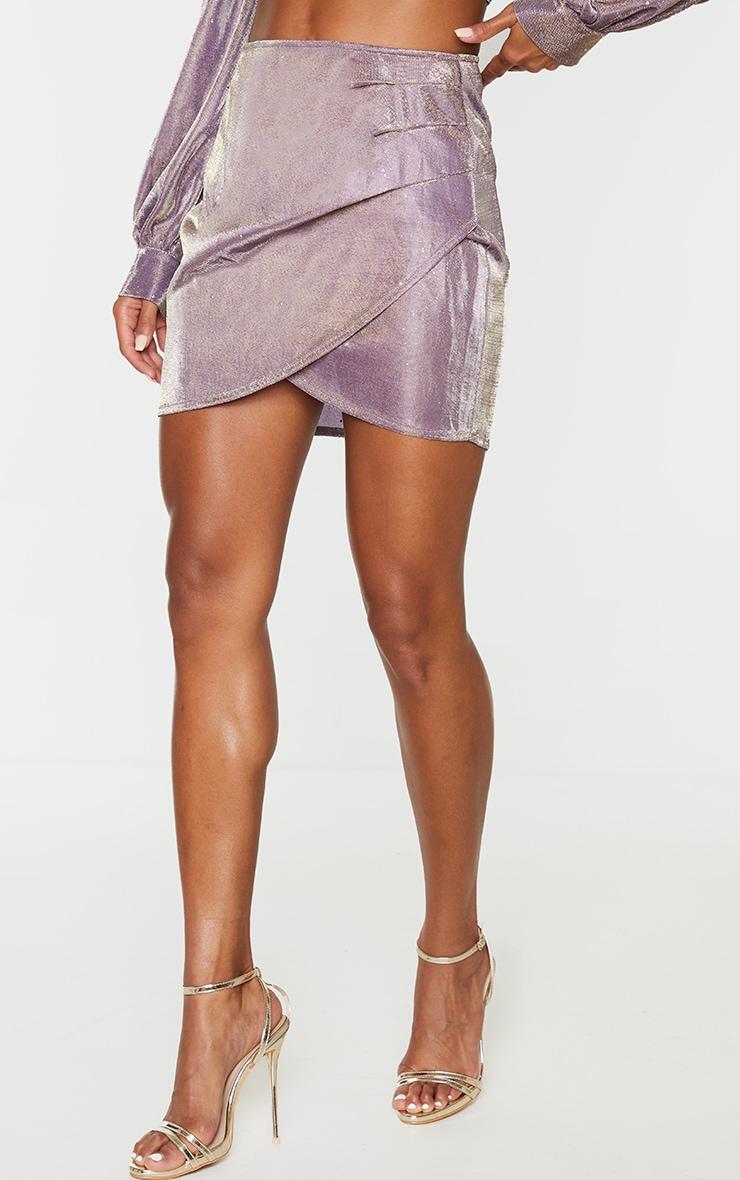 Lilac Textured Glitter Print Woven Panel Front Mini Skirt 2